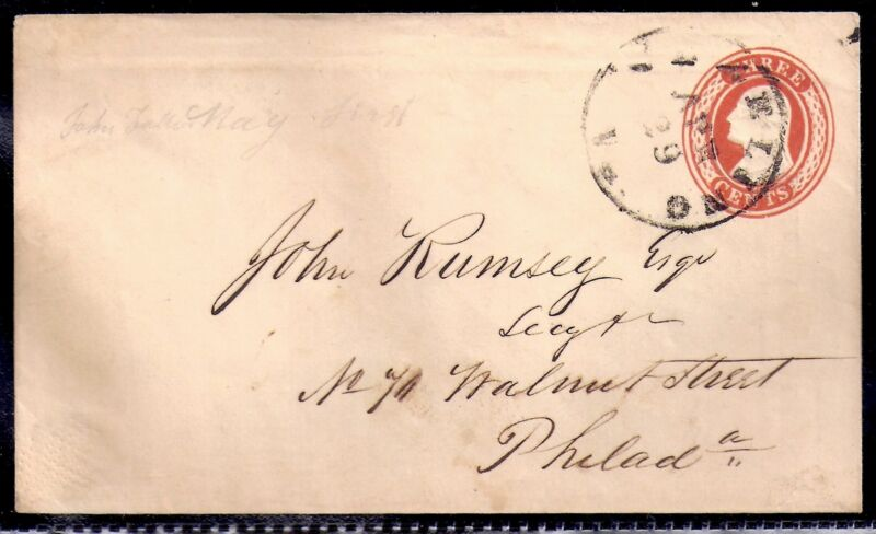 1850s Freeling, Virginia (DPO 1829-1949) to Philadelphia - Scott U9