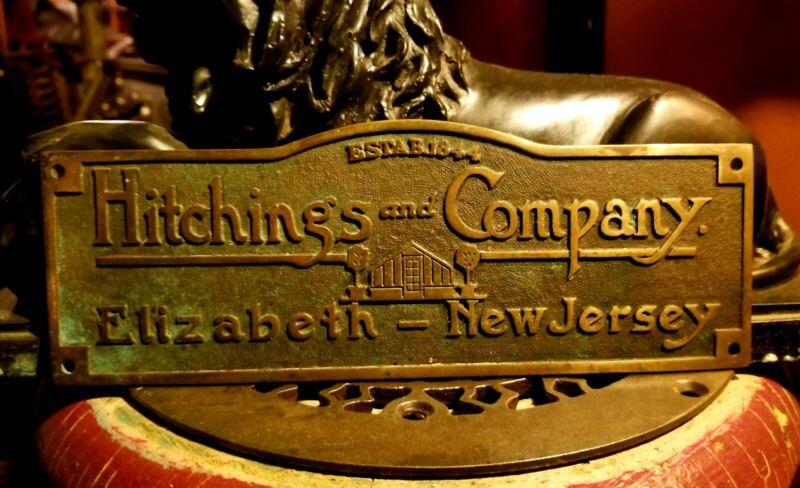 Architectural Salvaged HITCHINGS Elizabeth NJ Greenhouse Antique Brass Plaque
