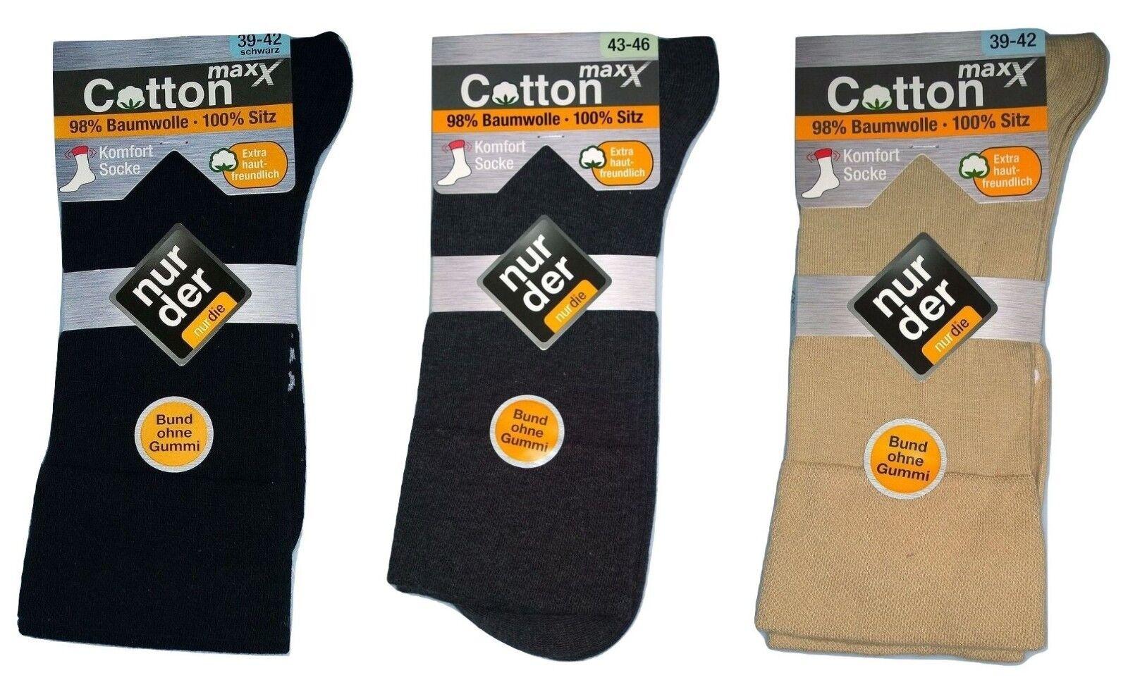Nur Der Komfort Socken Cotton Maxx Bund ohne Gummi Schwarz/Grau/Beige