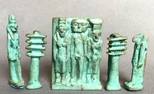 5 Ancient Egyptian Faience Amulets (Osiris Triad, Thoth, Djed +), circ 332-30 BC