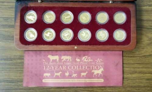 Australia Lunar 12 x 1/10 oz Gold Proof Set Series 1 mintage 1,000
