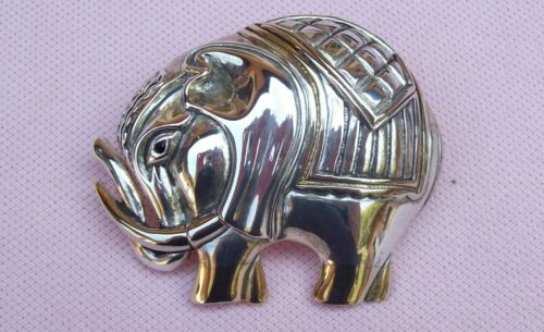 Vintage Gilt Silver Trunk Up Elephant Brooch Pin Necklace Enhancer Crystal Eye