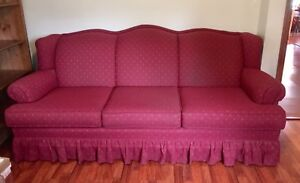Red 3-seater couch, sturdy, well-made couch.