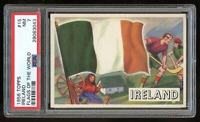 Flags Of Ireland (1956 Topps Flags of the World #15 Ireland PSA 7 NM)