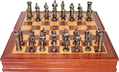 King Arthur Themed  Chess set / Pewter Pieces & Wood Board and Box
