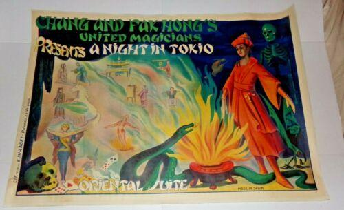 CHANG AND FAK HONG'S UNITED MAGICIANS MAGIC POSTER  A NIGHT IN TOKIO Circa 1930