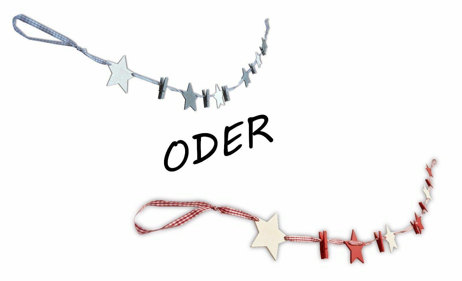 * Weihnachtliche Grußkarten-Girlande fünf Klammern | Grußkartenhalter Sternleine