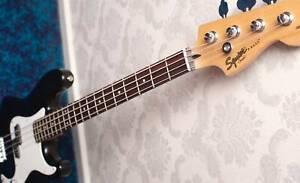 Black Fender Squier P-Bass (Precision style bass)