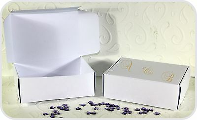 Personalized 50 Party Wedding Cake Favour Boxes 90mm x 65mm x 28mm White - Personalized Cake Boxes