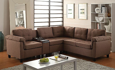 Sectional Sofa Set Living Room Stingingly Interior Furniture Brown Linen Color PU