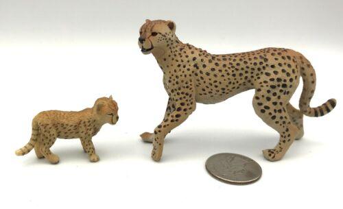 Papo Female CHEETAH & CUB Mother Baby Animal Figures 2004