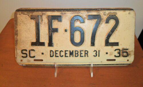 December 31 1935, SOUTH CAROLINA, License Plate, 1F-672, Black Text on White