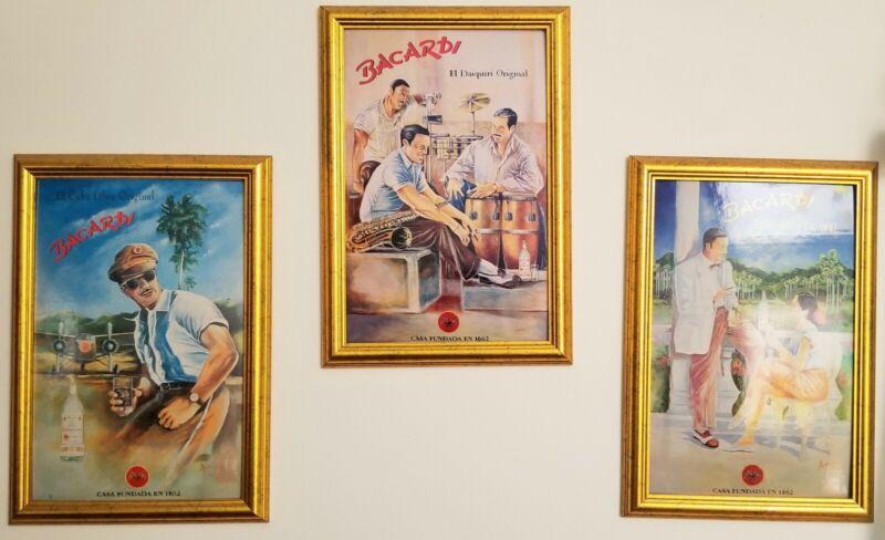 """Bacardi """"El Cuba Libre"""" """"El Dariguiri"""" """"El Mojito"""" 2000 Poster 3 Framed 19x13"""
