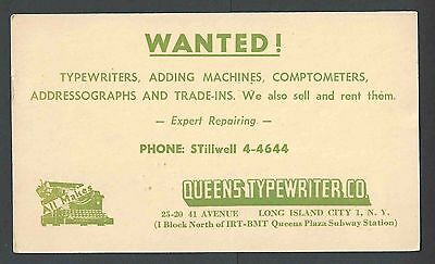 1952 PC NY QUEENS TYPEWRITER CO LENDS FREE UNIT TO THOSE REPAIRING SEE INFO