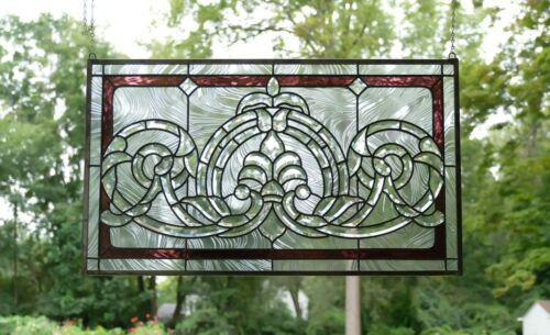 "Handcrafted stained glass Clear Beveled window panel 34""W  x 20""H"