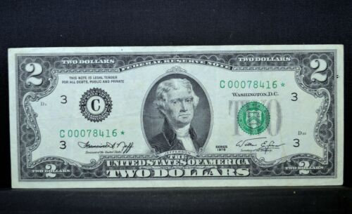 1976 $2 FEDERAL RESERVE NOTE ✪ FILLED-IN STAR ✪ ERROR CH-VF SOLID INK ◢TRUSTED◣