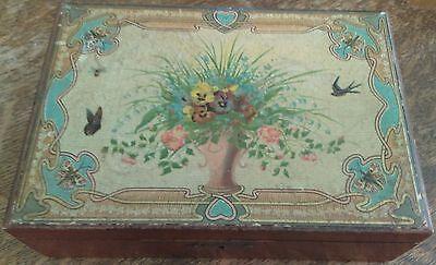 VINTAGE WOOD  JEWELRY BOX TREASURE CHEST TRINKET HINGED LID PANSIES BLUEBIRDS