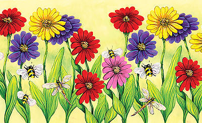 Toland Zinnia Flight 18 x 30 Decorative Flower Dragonfly Bee Floor Mat -