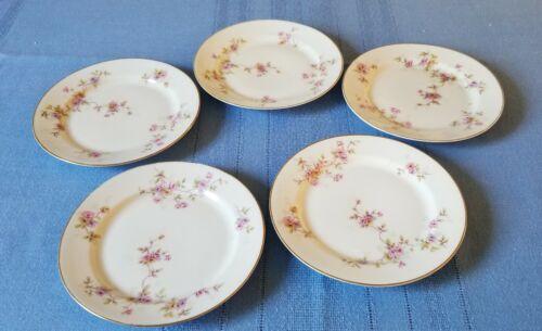 """FIVE HEINRICH - H & Co. SELB Bavaria  - 6 1/4"""" Petite Pink Floral PIE PLATES"""