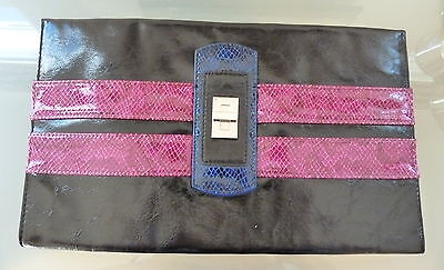 M&S Ladies Bag Handbag Black Clutch Party Smart Evening Pink EUC Large  for sale  Shipping to Ireland