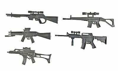 "FIG-WP-5X: FIGLot 1/12 Scale Rifle Guns (5 Pack) for 6"" Marvel Deadpool Punisher"