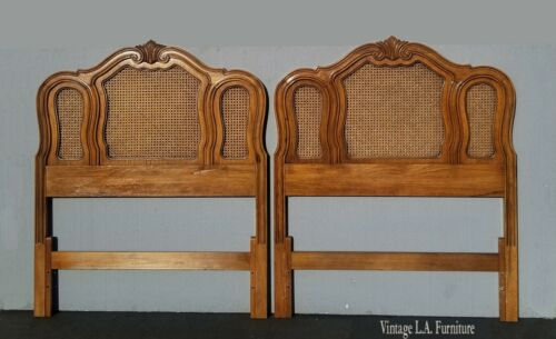 Pair of Vintage French Country Thomasville Brown Cane Twin Headboards
