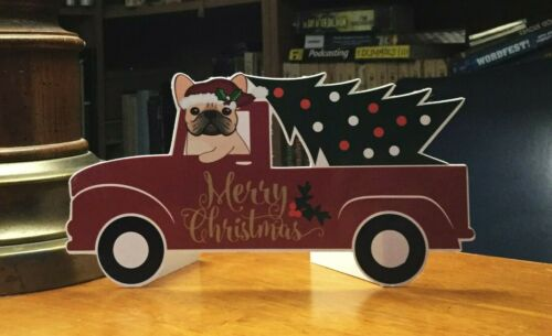 "Fawn French Bulldog in a Truck Christmas 6"" Decor"