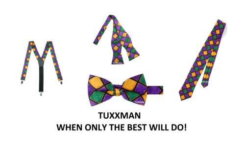 Mardi Gras Clip On Suspenders Choice Of Tie. Purple Green Gold Diamonds Tuxxman