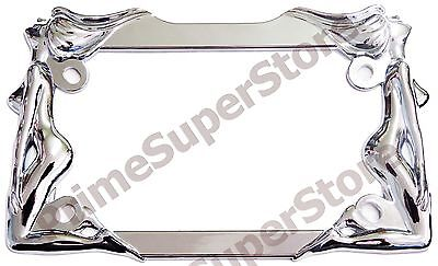 Nude/Naked Ladies Women Twin Girls Chrome Metal Motorcycle License Plate Frame (Girl License Plate Frame)