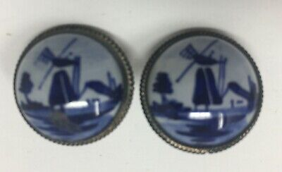 Vintage Holland DELFT Dutch Button Round Porcelain 835 Silver Clip on Earrings