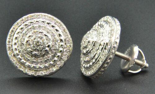 10K Or Blanc Finition Avec 0.15 CT REAL DIAMOND Carré Stud Argent Boucles d/'oreilles
