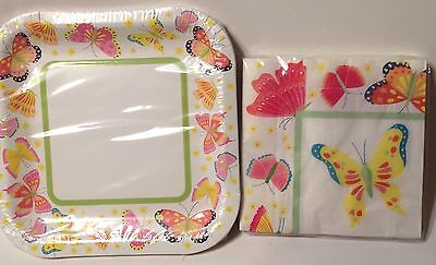 BUTTERFLY PAPER PLATES & NAPKINS New Party Set