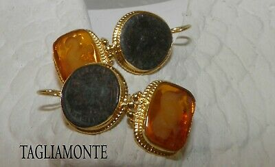 TAGLIAMONTE(1142)Earring*YGP925*CarnelianColor Venetian Intaglio+Ancient Coin