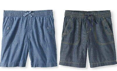 Girls Chambray Shorts (Girls Bermuda Shorts w/ Pockets Drawstring 7 1/2'' Inseam Blue Chambray)