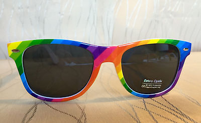 Rainbow Wayfare Style Sunglasses LGBT Pride Gay Retro Vintage Colorful Party (Wayfarer Fashion)