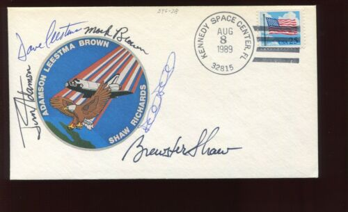 5 ASTRONAUT CREW SIGNED AUG 8 1989 COLUMBIA STS-28  COVER