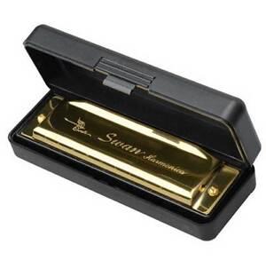 Swan Harmonica 10 Holes Key of C GOLDEN w/ Case Blues Harp Metal Steel NEW