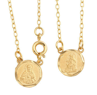Gold Plated Mini Round Scapular Necklace Lady of Mt. Carmel Jesus Heart Medals Gold Medal Necklace
