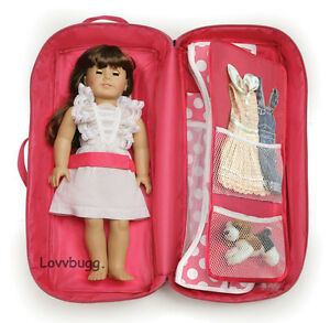 Pink-Carry-Case-w-Bed-Trunk-Wardrobe-Furniture-for-18-American-Girl-Doll