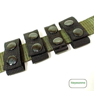 4x Police Soldier Security Duty Black Nylon Belt Keepers 2 Hook Fit Army Belt