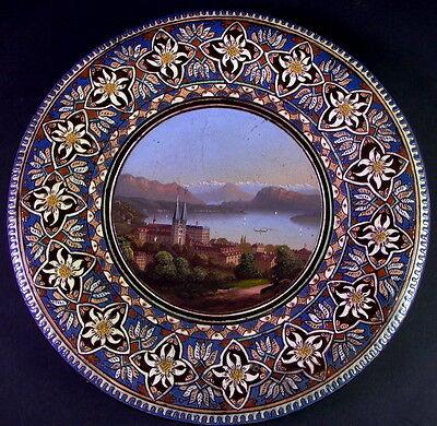 antike THOUNE Majolika - Ansicht Luzern Schweiz - Edelweißdekor - handbemalt