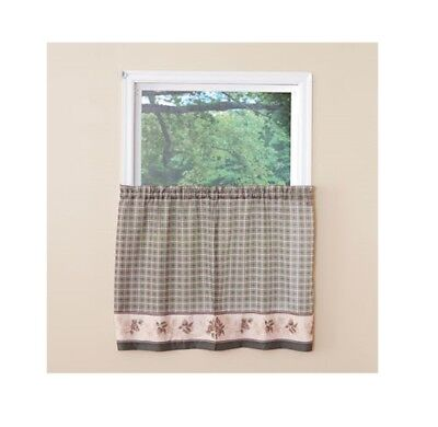 Pine Valley Border Tier Curtain Pairs Green 36 inch length Cabin Lodge for sale  Philadelphia