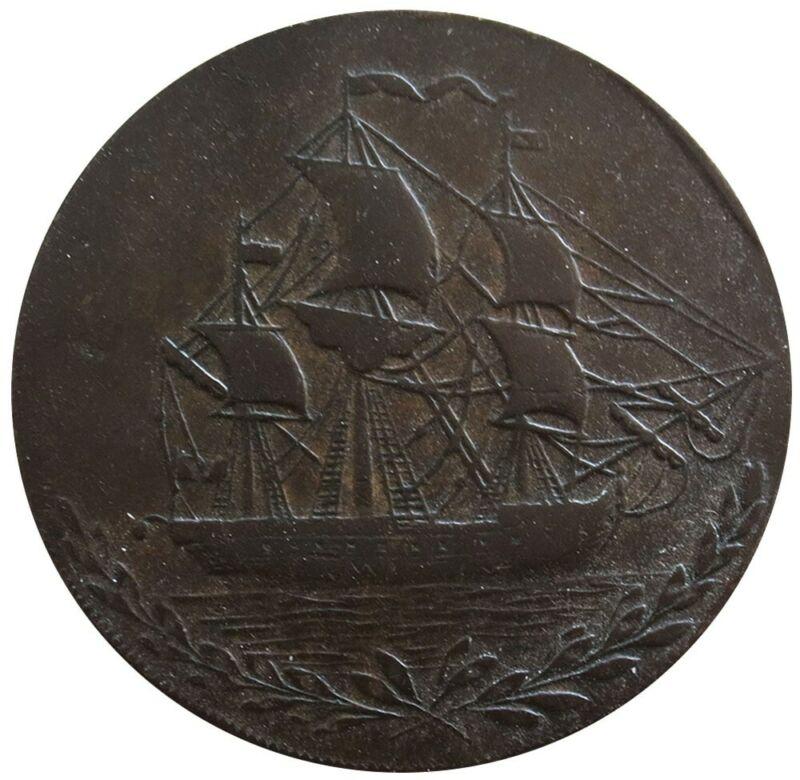 1791 GREAT BRITAIN YORKSHIRE HULL 1/2 PENNY SAILING SHIP TOKEN D&H 23