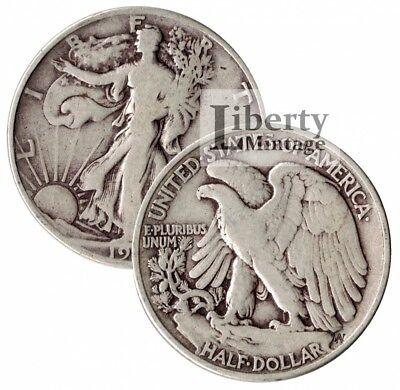 2 Coins - Walking Liberty Half Dollars 90% Silver U.S. Coin Lot - $1 Face Value
