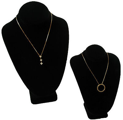 2 Assorted Black Velvet Bust Necklace Jewelry Displays