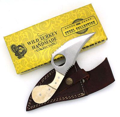 (Wild Turkey Handmade Fixed Blade Bone Collector Skinning Knife w/ Leather Sheath)