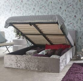 ELO crushed velvet autumn storage bed single/double size in( grey colour)