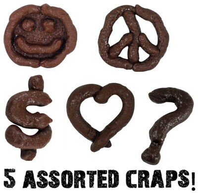 (5) Realistic Odd Weird Shaped ~ Rubber Crap Poop Poo Turds ~ gag prank joke set
