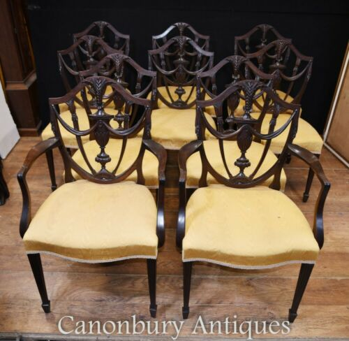 Set 10 Adams Shield Back Dining Chairs Mahogany