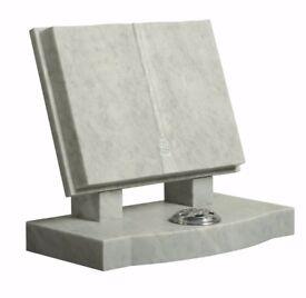 Headstone white marble